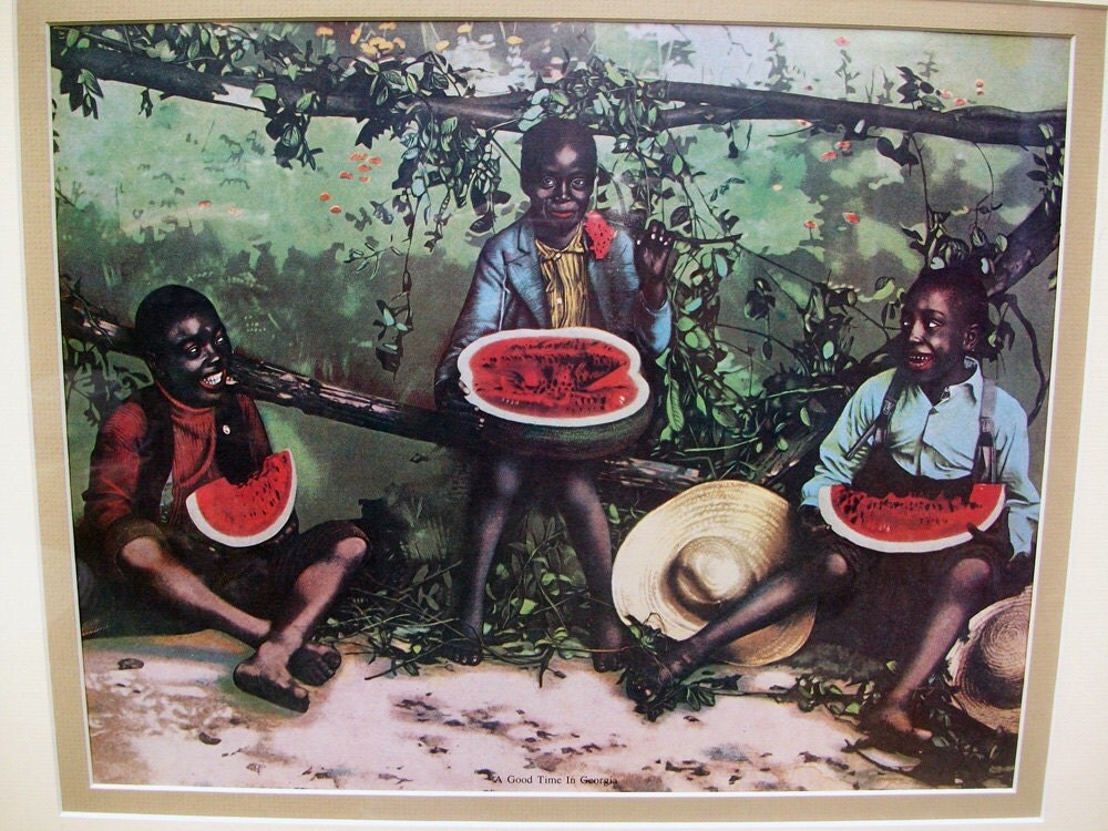 Sale Vintage Black Americana Folkart Print A Good Time In