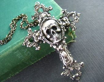 Large antique Sterling silver plated skull cameo ornate cross necklace N033