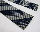 1950s Tie - 60s Neck Tie - Vintage Skinny Tie in Blue & White Plaid