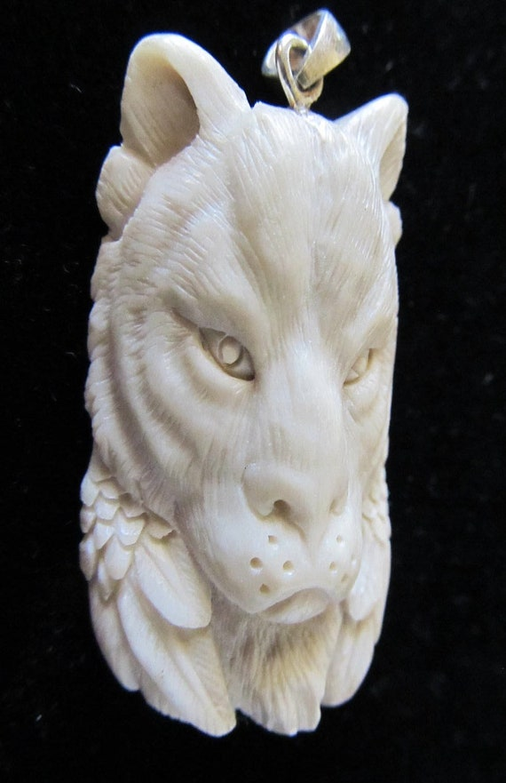 Handcarved Cat (Lynx, Bobcat, Tiger) , Totem Pendant, Antelope Bone Carving, Cat Totem, Lynx Totem, Tribal Jewelry