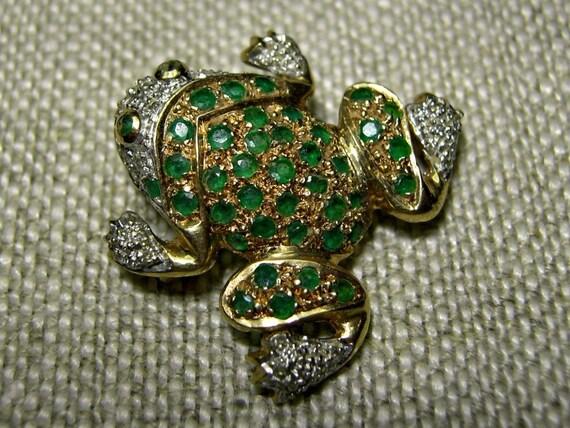 14k Gold Frog Pin  Pendant w/ Emeralds Diamonds 5.2g Good Luck Symbol