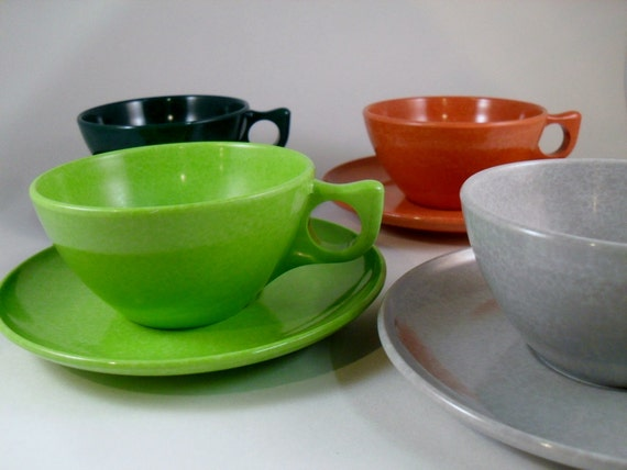 vintage Cups and Saucers - Color Flyte by Brancell - 4 cups and saucers