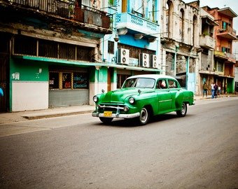 Classic Car Driving in Old Havana - Cuban Art - Classic Car Art - Architecture Photography - Masculine Decor - Fine Art Photography