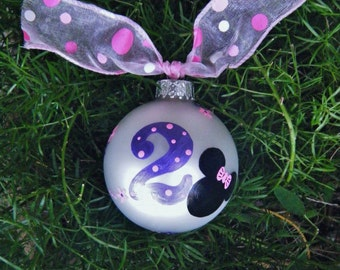 Minnie Mouse Birthday Ornament  - Personalized Number Two - Handpainted Glass Ball, Disney Birthday Girl, Disney Princess