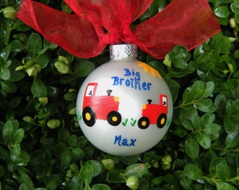 Tractor Ornament - for Big Brother or Little Brother - New Baby Gift - Custom Hand painted Christmas Ornament, Personalized Farm Birthday