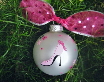Pink Stiletto Ornament - High Heel Shoe Decoration, Personalized Handpainted Birthday or Christmas Ornament, Bauble, Shoe Decor, High Heels