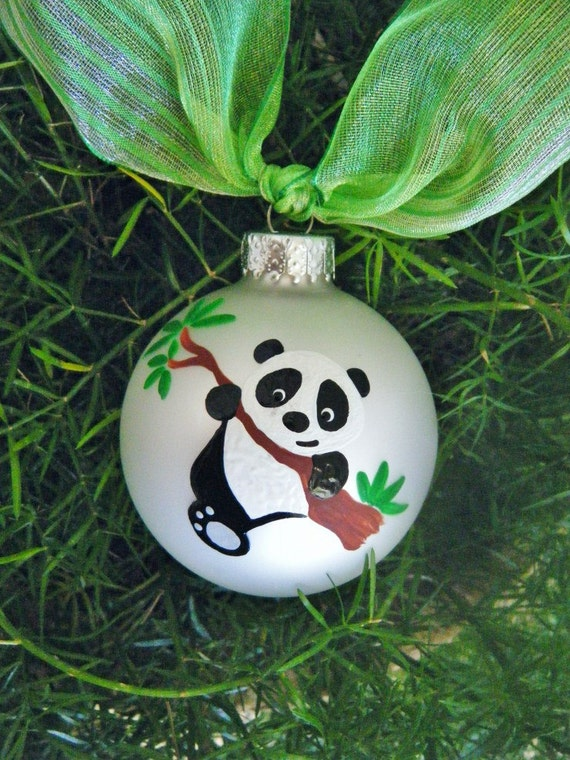 Panda Bear Ornament Personalized Hand Painted Christmas