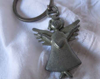 Vintage Angel Keychain Pewter Like Key Chain Religious Angelic Jewelry Collectible
