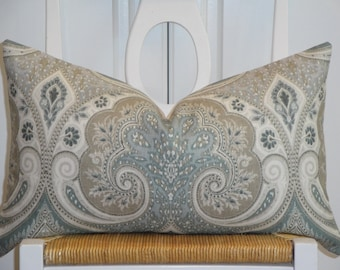 KRAVET - Decorative Pillow Cover - Throw Pillow - Accent Pillow - Latika In Seafoam - Paisley - Ikat