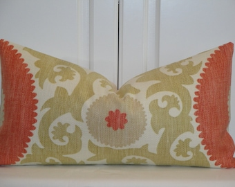 Decorative Pillow Cover - Suzani - Throw Pillow - Accent Pillow - Hibiscus color - Coral - Soft Green