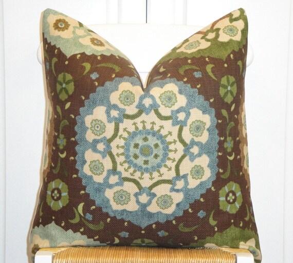Beautiful Decorative Pillow Cover - 20 x 20 - Accent Pillow - Throw Pillow - Blue - Tan - Green - Brown - Teal