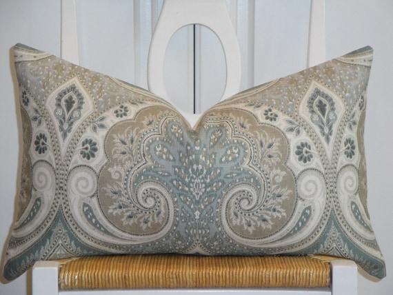 KRAVET - Decorative Pillow Cover - Throw Pillow - Accent Pillow - Latika In Seafoam - Paisley - Ikat