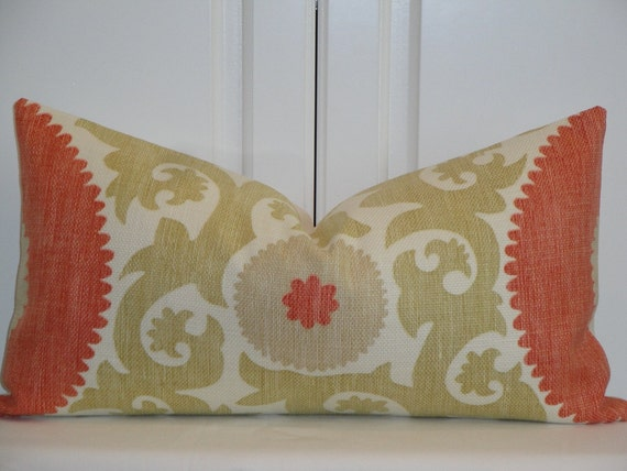 Decorative Pillow Cover - 11.5 x 22 - Suzani - Throw Pillow - Accent Pillow - Hibiscus color - Coral - Soft Green