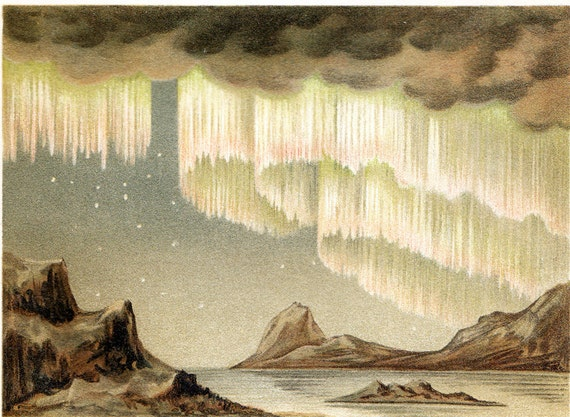 1908 Rare gorgeous CELESTIAL polar lights print, Northern lights and aurora borealis in Scandinavia and Greenland, fine antique print