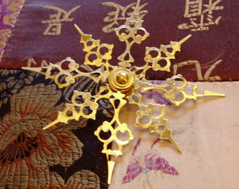 GOLD  Snow Spokes- Steampunk Clock Hand Deluxe Holiday Ornament