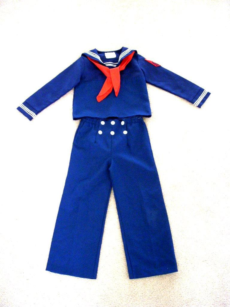Vintage Little Boys Sailor Suit 70s Navy Blue Childrens Sailor