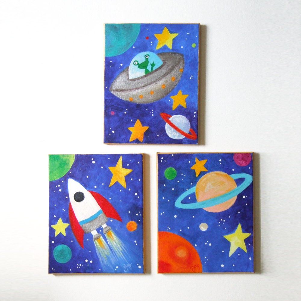 Kids wall art space art set set of 3 8x10 acrylic by njoyart for Outer painting design