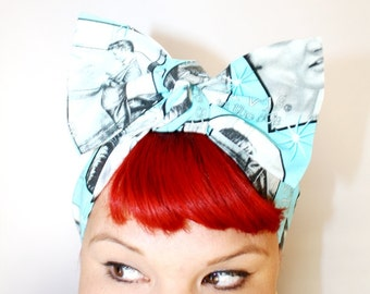Vintage Inspired Head Scarf, Bow or Bandanna Style, Oh Elvis, Retro, Rockabilly