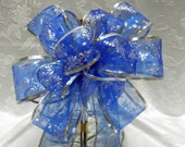 Blue with silver glitter snowflakes Christmas  bow / Wedding pew bow