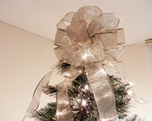 Large Sheer Gold and Silver Ribbon  Christmas Tree topper bow