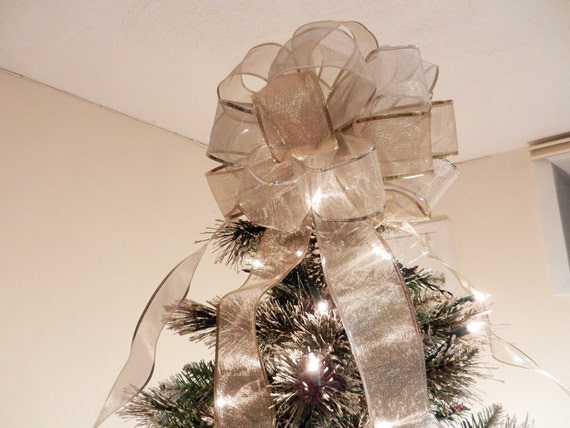 large sheer gold and silver ribbon christmas tree topper bow. Black Bedroom Furniture Sets. Home Design Ideas