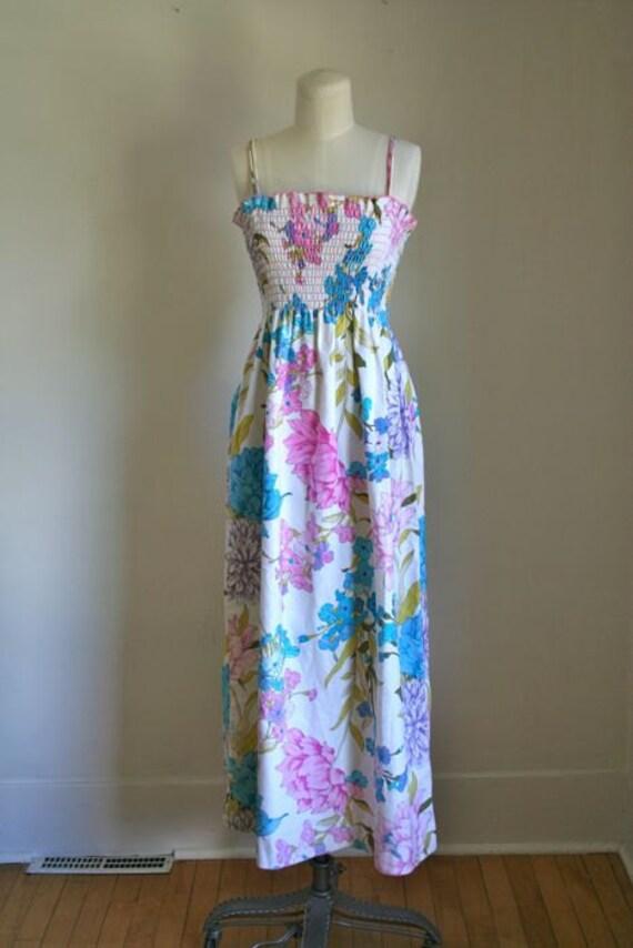 RESERVED // vintage 70s maxi dress - SWIRL concept floral dress / S-M-L