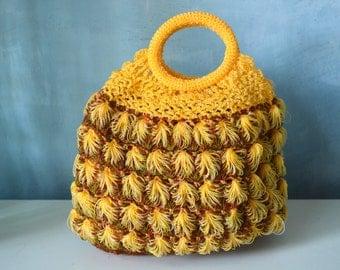 Vintage Boho Nylon Hope Crochet Macrame Yellow Circle Handle Bag Tote Handbag Purse