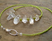 Neon Yellow Quartz Necklace, Bohemian tribal style bright fluorescent yellow bead necklace with tumbled crystal nuggets
