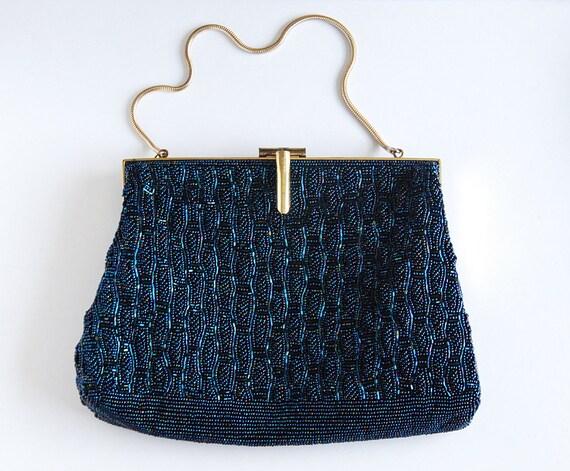 Great Gatsby Vintage Iridescent Blue Beaded Purse - Art Deco Evening Hand Bag