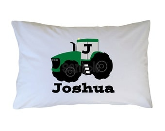 Personalized Tractor Pillow Case, Standard, Travel, Toddler Size