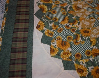 Handmade Sunflower Dahlia Lap Size Quilt Cotton Fabrics