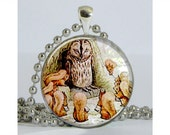 Squirrel Nutkin and Old Brown Silver Plated Necklace with Chain Resin Pendant Art Pendant Photo Pendant Picture Pendant