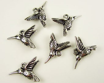 6 Silver TierraCast Hummingbird Charms
