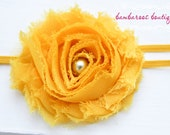 shabby chic baby headband, yellow baby headband, orange gold