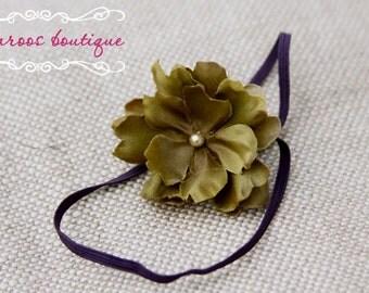 baby headband, purple headband, green Flower Headband