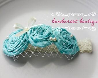 teal baby headband, baptism headband, bridal veil
