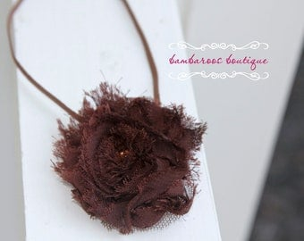 brown headband, newborn headband, brown hair flower