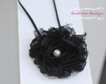 black hair flower, baby headband, black headband