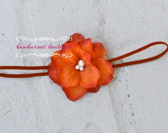 Coral Orange baby headband, newborn headband, small dainty flower headband, infant headband, photography prop
