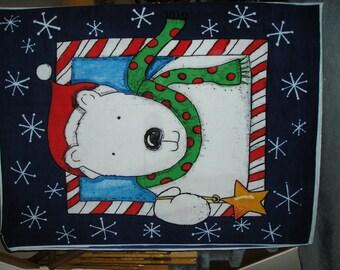 Polar Bear Fleece Blanket with Santa or Plain Backing - Custom Made