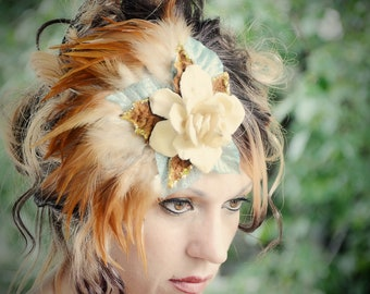 Beautiful woodland bohemian style fascinator, art deco, Victorian, pageants, photo props, holidays, halloween, parties