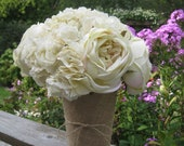 Burlap Vase for WEDDING CENTERPIECES or BOUQUET for Your Rustic or Woodland Wedding