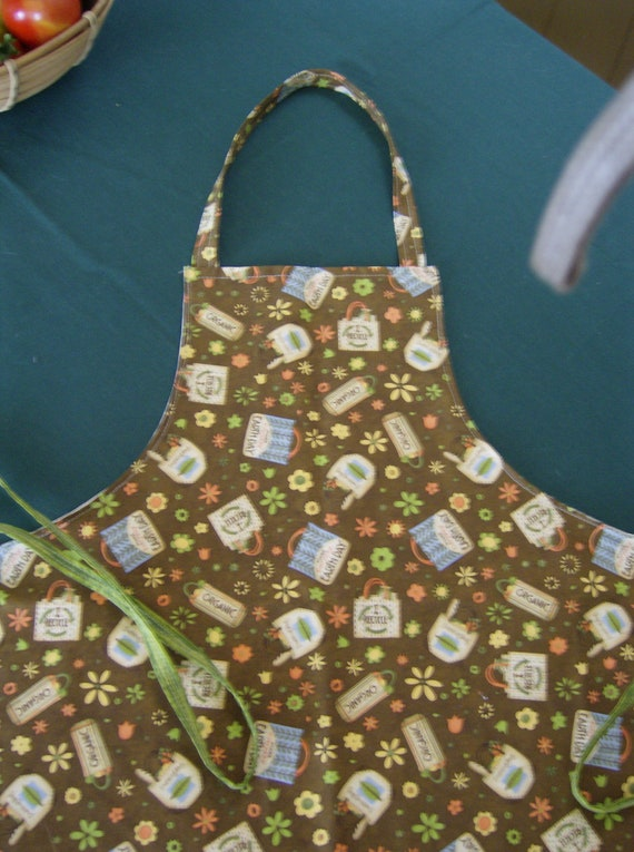 SALE Full Apron, Debbie Mumm Earth Day Fabric, Fully lined