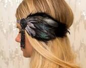 Raven Black Bohemian Feather Headband - gypsy, hippie, silver, burlesque