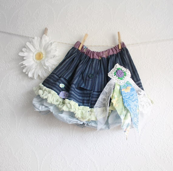 Toddler's Shabby Chic Skirt Girl's 3T Upcycled Clothes Navy Blue Mint Green Children's Clothing Full Bubble Eco Friendly 'BELLA'