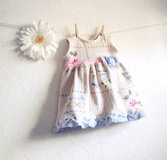Shabby Chic Girl's Dress 18 Months Baby Clothes Pink Floral Jumper Periwinkle Blue Upcycled Clothing Eco Friendly Cream Lace 'CARRIE'