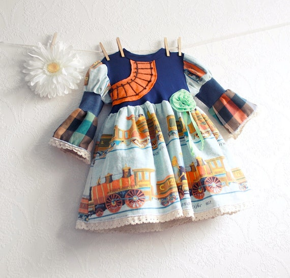 Vintage trains toddler dress 3t girls clothes navy blue for Fabric for kids clothes