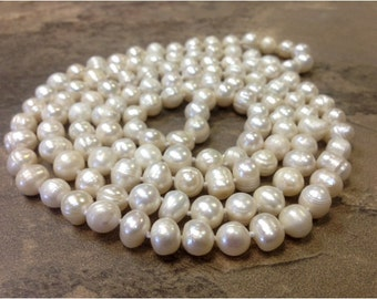 48 inches Hand Knotted Pearl Necklace 8 to 9 mm Baroque Pearls - Long Pearl Necklace (LanNa)