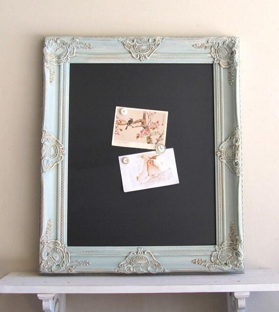 FRAMED CHALKBOARD Wedding Menu Blue Wedding Sign Home Decor Kitchen Magnetic Old World Tuscan Teal Chalk Board - MoRE COLORS