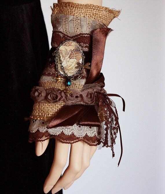 Gypsy boho bohemian glamour cuff with Mucha cameo